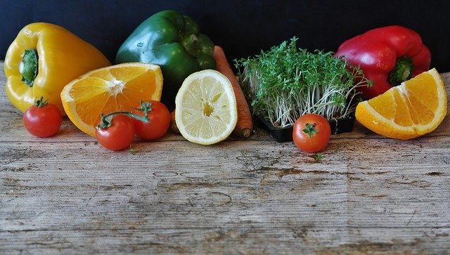 A slice of fresh fruit and vegetables